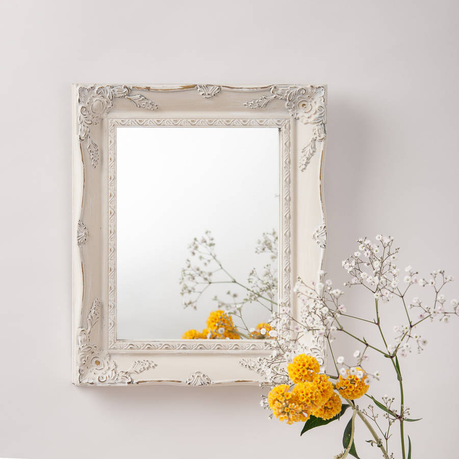 Gt hand crafted mirrors gt vintage white cream hand painted mirror
