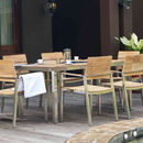 Slatted Teak And Stainless Steel Dining Set