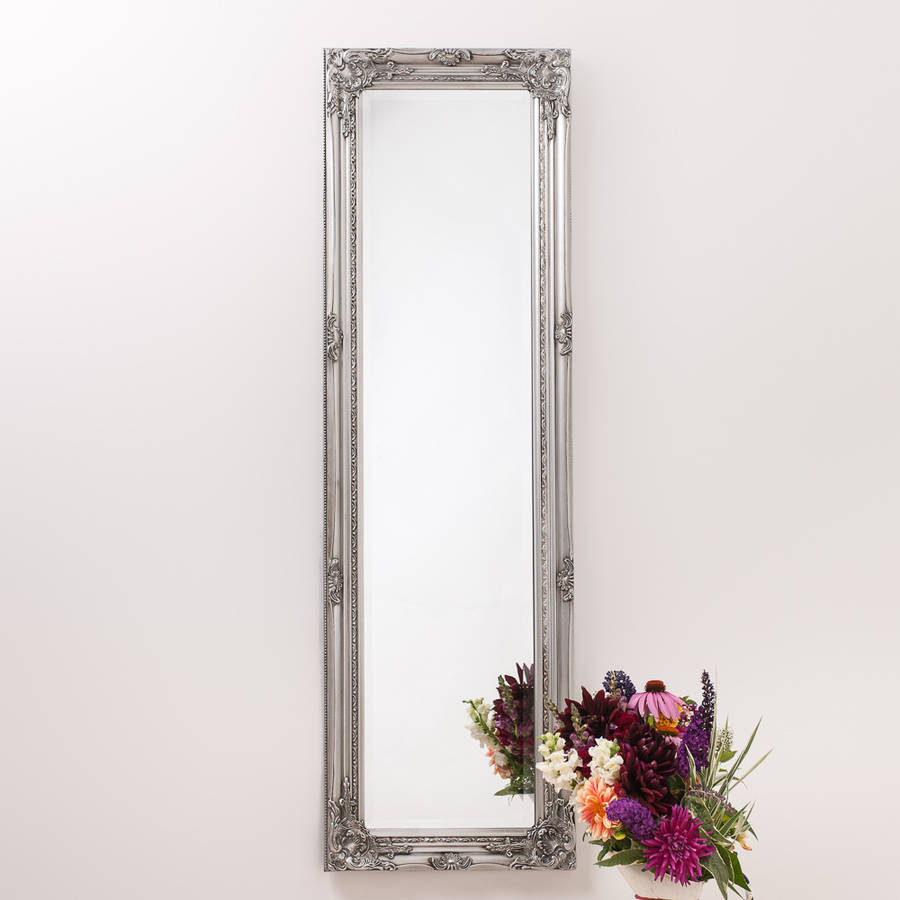 Ornate vintage silver pewter mirror full length by hand for Mirror o mirror