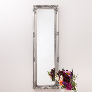 Ornate Vintage Silver Pewter Mirror Full Length