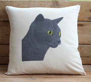 Smokey Cat Cushion Cover With Inner Option