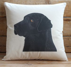Black Labrador Cushion Cover With Inner Option - cushions