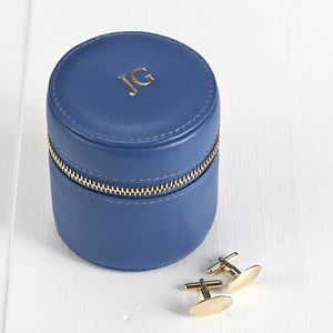 Stud And Cufflink Box Blue Orange Or Brown