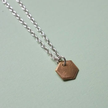 Gold Hexagon Charm Necklace