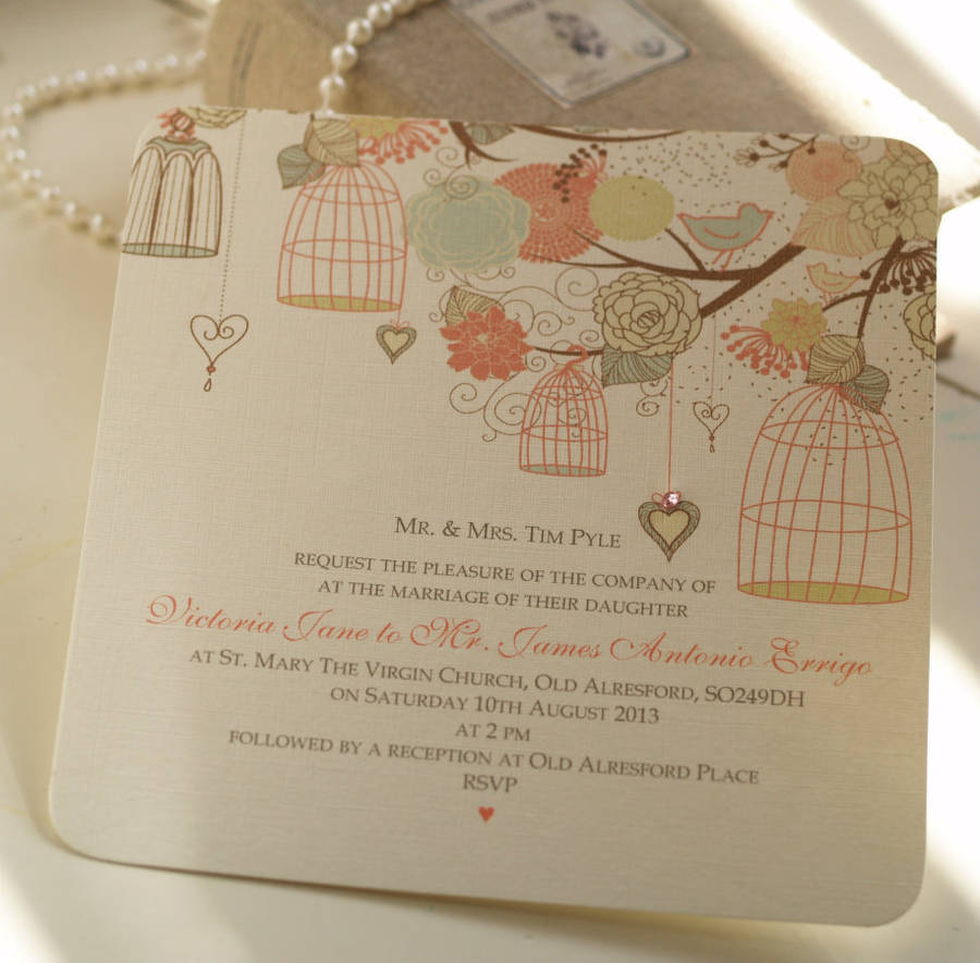 hanging vintage birdcages wedding invitations by beautiful day