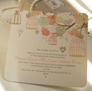 Hanging Vintage Birdcages Wedding Invitations
