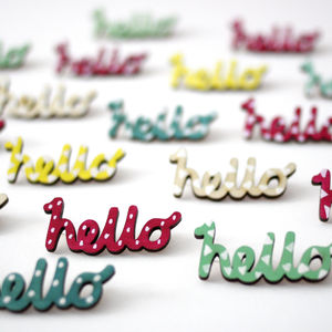 Hello Brooch. Hand Painted Birch Wood - pins & brooches