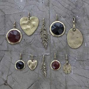 Antique Gold And Natural Stone Charms