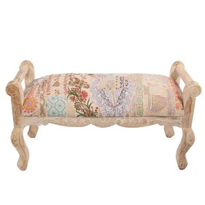 Patchwork Whitewash Ornate Wooden Bench - furniture