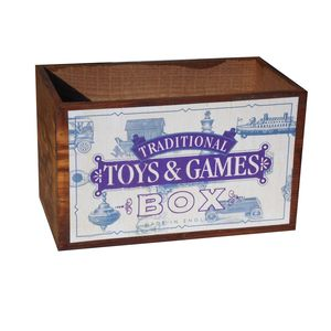 Vintage Wooden Toys And Games Box - toy boxes & chests