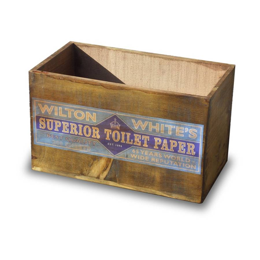 Vintage Wooden Toilet Paper Storage Crate Or Box By The