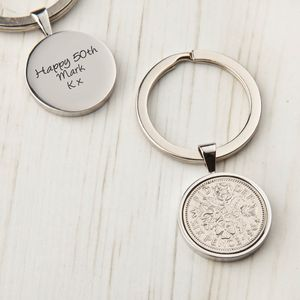 Sixpence 50th Birthday 1964 Coin Keyring