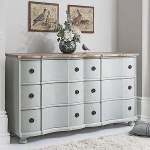 Painted Grey Curved Sideboard