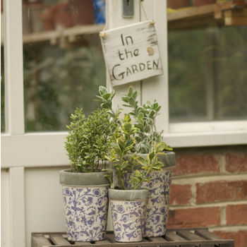 Aged Ceramic Garden Planter Or Plant Pot