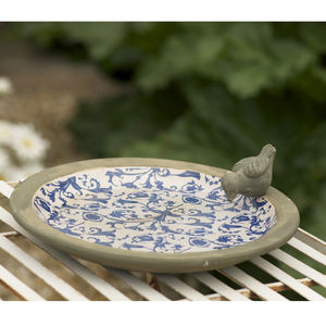 Blue And White Aged Ceramic Bird Bath - gardener