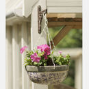 Aged Ceramic Blue And White Hanging Basket