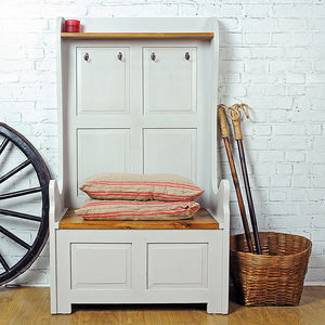 Painted Wooden Two Seater Storage Bench - chests & blanket boxes