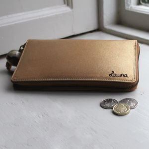 Personalised Ladies Long Leather Wallet