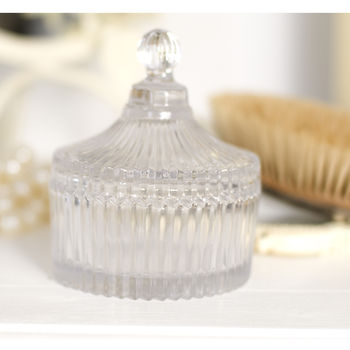 Ridged Glass Trinket Jar