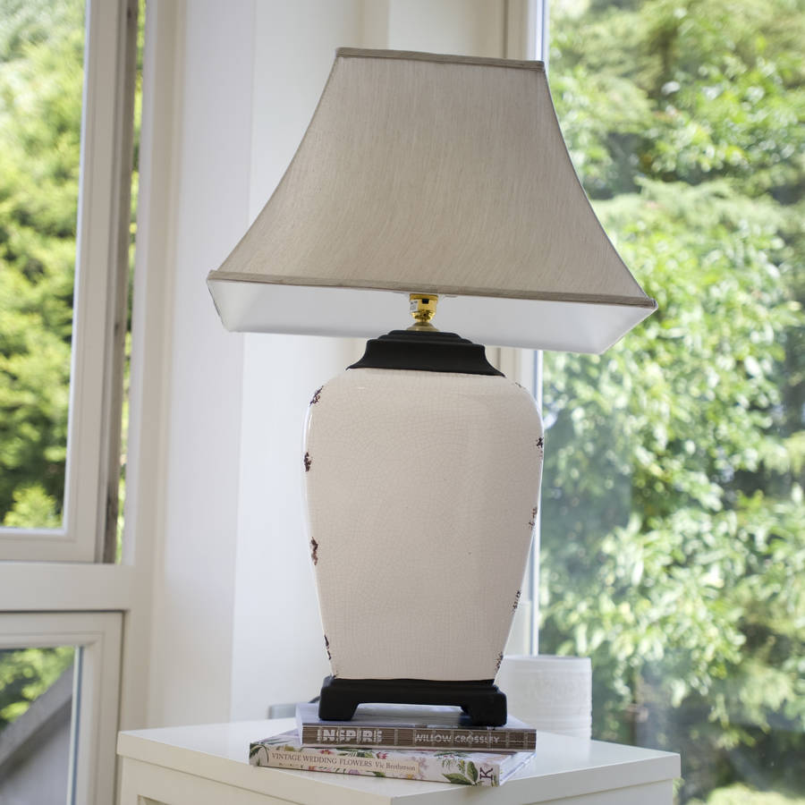 Crackle glaze cream table lamp by the orchard notonthehighstreet crackle glaze cream table lamp aloadofball