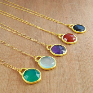 Birthstone Gold Mixed Gemstone Dome Necklace - jewellery for women