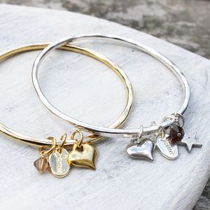 Custom Heart Charm Bangle - women's jewellery