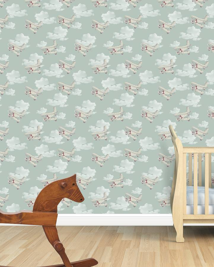 Retro Planes And Clouds Kids Wallpaper By Snuugle