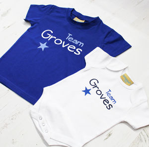 Personalised 'Team Surname' Childrens T Set - babygrows