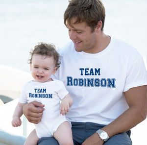 'Team Surname' Father And Child T Shirt Set