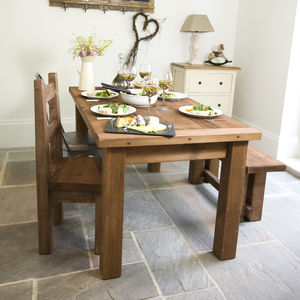 Chunky Solid Wood Dining Table And Chair Set