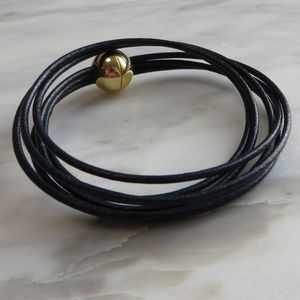 Leather Bracelet With Gold Ball Clasp