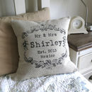 Vintage Style Mr & Mrs cushion in light linen cotton