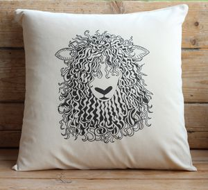 Sheep Canvas Cushion Cover With Inner Option