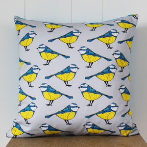 Bold Blue Tit Cushion - patterned cushions