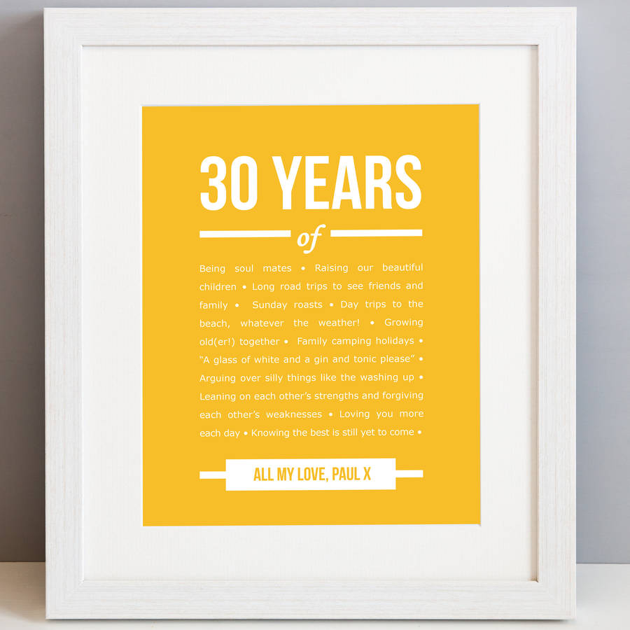Personalised 30 Year Anniversary Print By Elephant Grey
