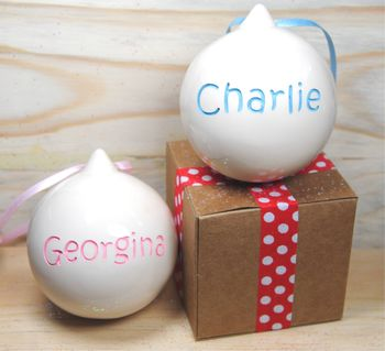 Engraved Xmas Christmas Bauble Personalised Two Sides