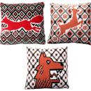 Huskey, Stag And Fox Colourful Knitted Cushions