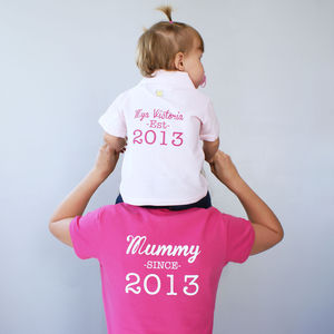 Personalised Mummy And Baby Polo Shirt Set