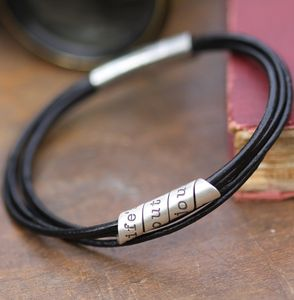 Life's About Men's Black Leather Bracelet