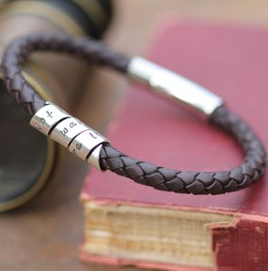 Not All Who Wander Men's Black Leather Bracelet