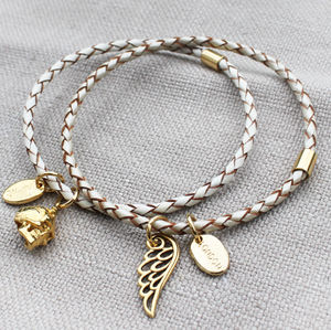 Cream Braided Leather Charm Bangle Bracelet - jewellery & accessories