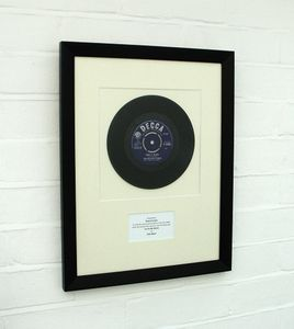 Framed Birthday Number One: Original Vinyl Record - mixed media & collage