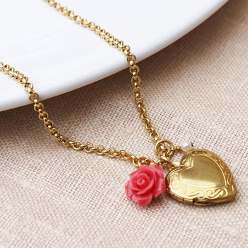 Vintage Rose Locket Pendant