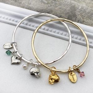 Custom Skull Charm Bangle - jewellery sale