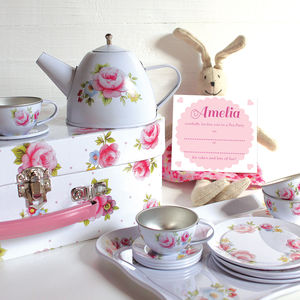 Vintage Rose White Tea Set And Personalised Invitations - more