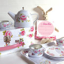 Vintage Rose White Tea Set And Personalised Invitations
