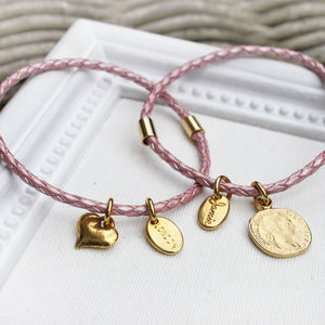 Pink Braided Leather Charm Bangle Bracelet