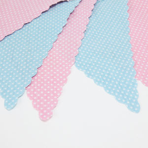 Pink And Blue Spotty Bunting - outdoor living