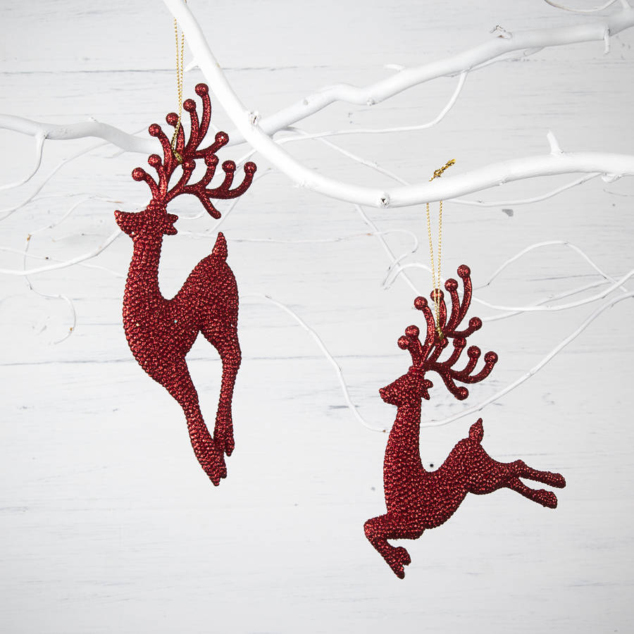 red glitter reindeer christmas decorations - Christmas Reindeer Decorations