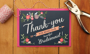 Floral Bridesmaid Thank You Card - wedding thank you gifts